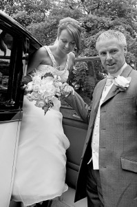 bride & father at church-