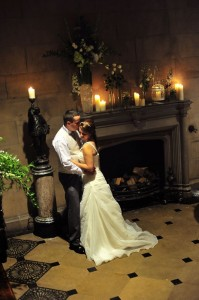 matfen hall wedding bride and groom in great hall