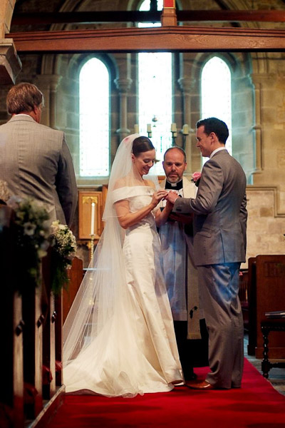 exchanging rings at st michaels all angels church felton