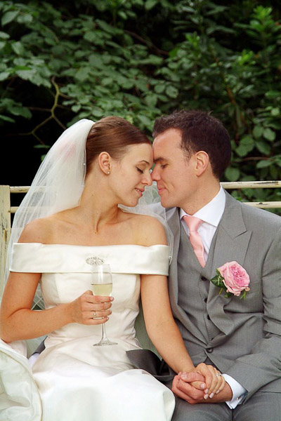 romantic photo of bride and groom at ellingham hall wedding