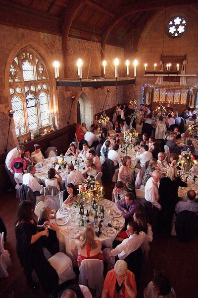 guests mingling at ellingham hall wedding
