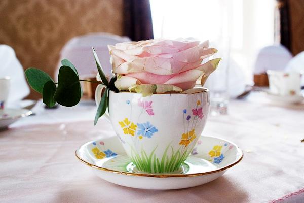 vintage tea cup at grand hotel wedding