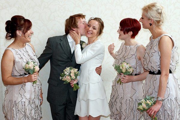 groom bride and bridesmaids