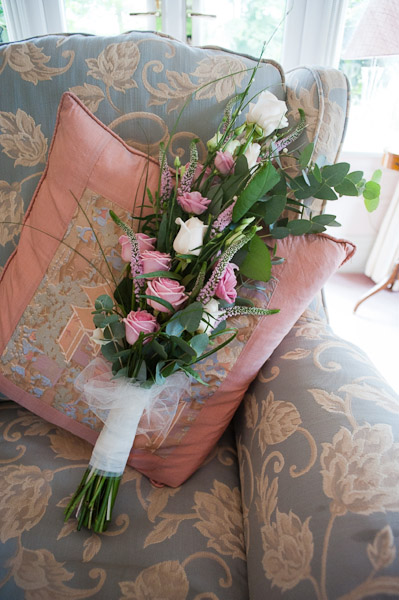 pink and cream roses wedding bouquet