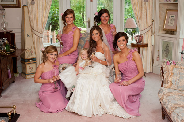 bride and bridesmaids rockliffe hall wedding