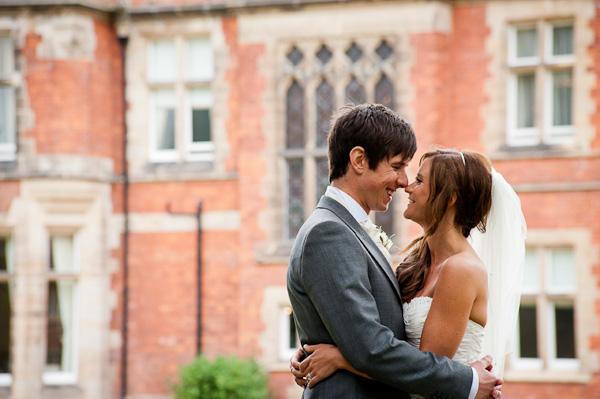 bride and groom at ockliffe hall wedding