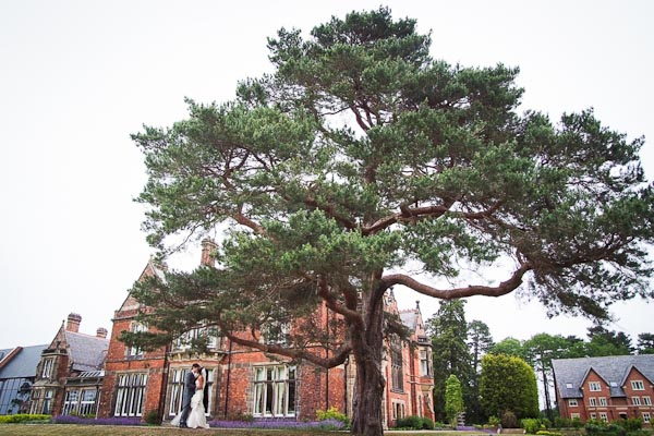 rockliffe hall wedding bride and groom walking