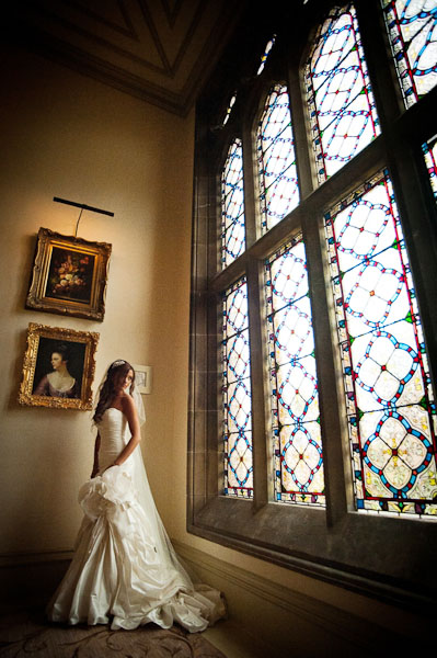 rockliffe hall wedding bride in stained glass window