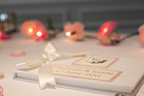 guest signing book at rockliffe hall wedding