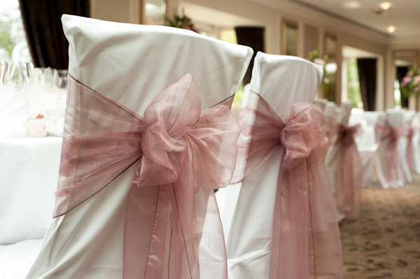 soft pink chair sashes