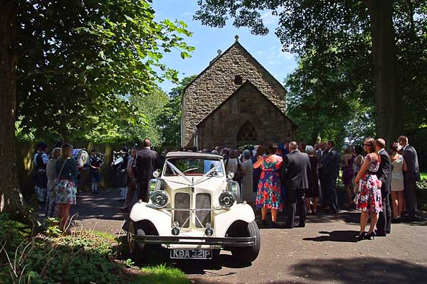 wedding car outside of church