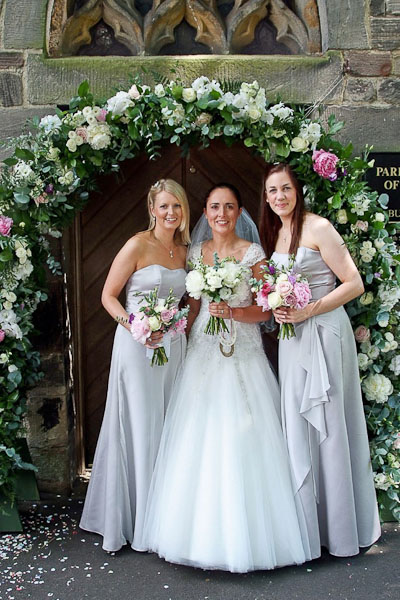 bride and bridesmaids at seaton delaval hall wedding