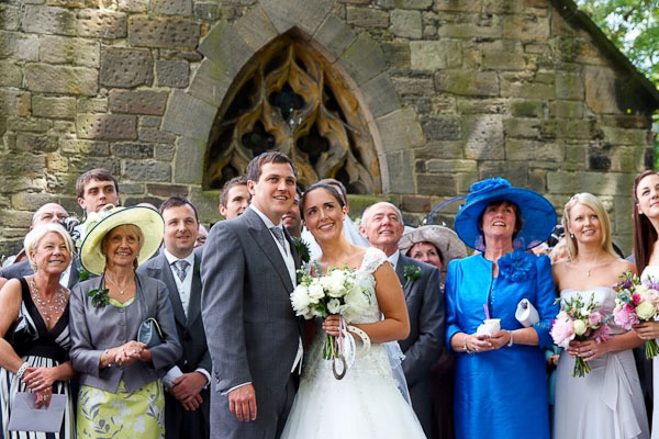group photo of guests at seaton delaval hall wedding