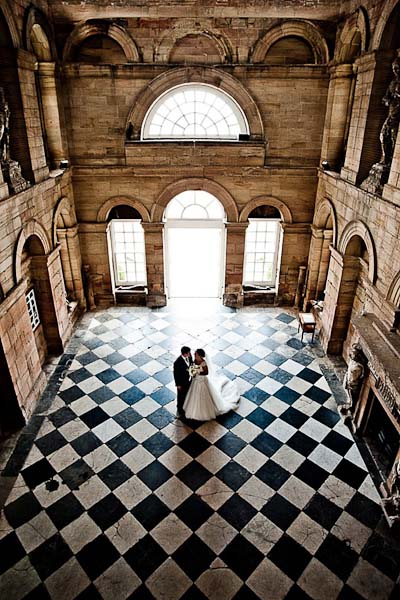 bride and groom in seaton delaval hall