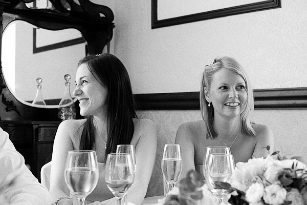 bridesmaids laughing at speeches