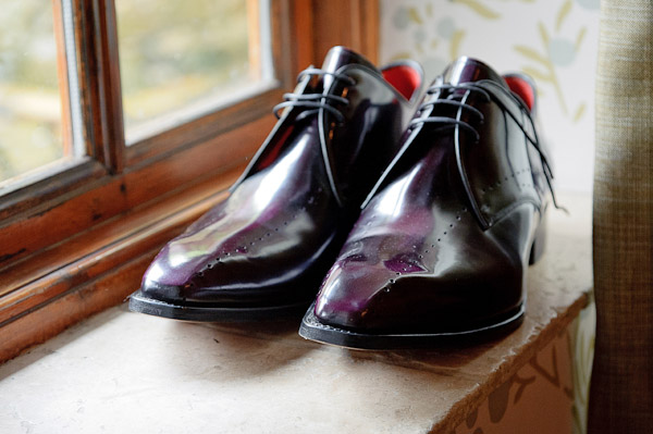 groom wedding shoes Jeffery Wests in an Aubergine Polish.