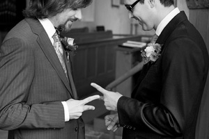 st peter's church bishopton groom and best man laughing