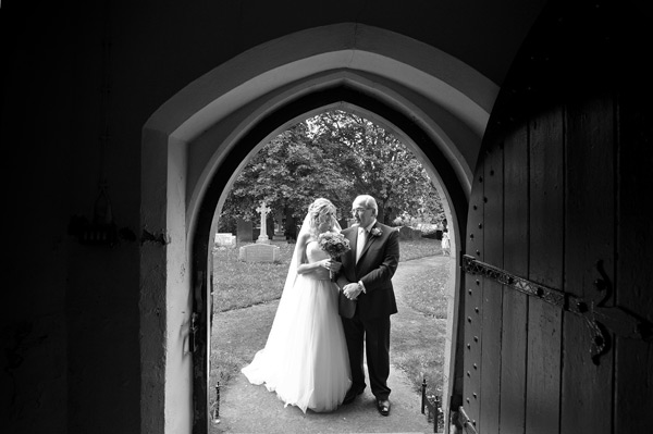 bride and dad outside church wynyard wedding