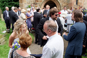 guests outside church