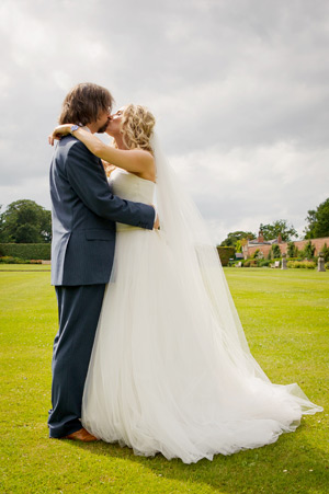 Wynyard Hall Wedding Photography bride and groom in walled garden