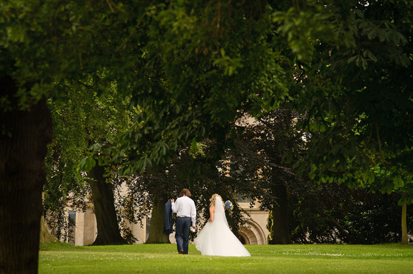 Wynyard Hall Wedding bride and groom walking casually