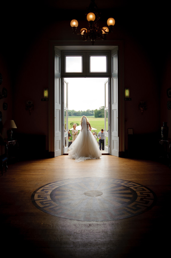 Wynyard Hall Wedding Photographer bride in door way