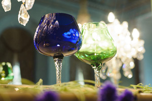 Wynyard Hall Wedding room set up coloured wine glasses