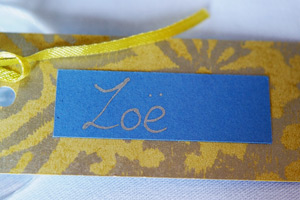 bride name plate blue