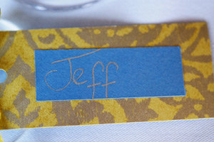 groom name plate blue with gold writing
