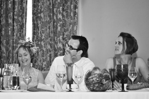 wedding speeches guests laughing