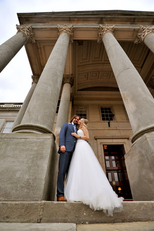 wynyard hall wedding photography bride kissing groom on cheek