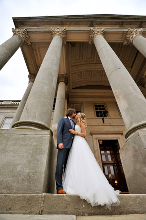 wynyard hall wedding photographer bride and groom kissing