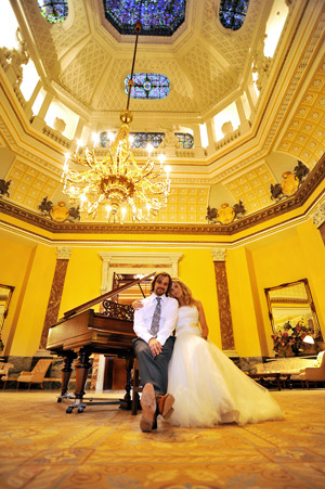 wynyard hall wedding photographer bride and groom in great hall