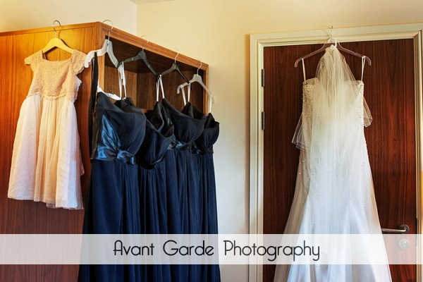 Wedding dress, black bridesmaids dresses and flower girl dress