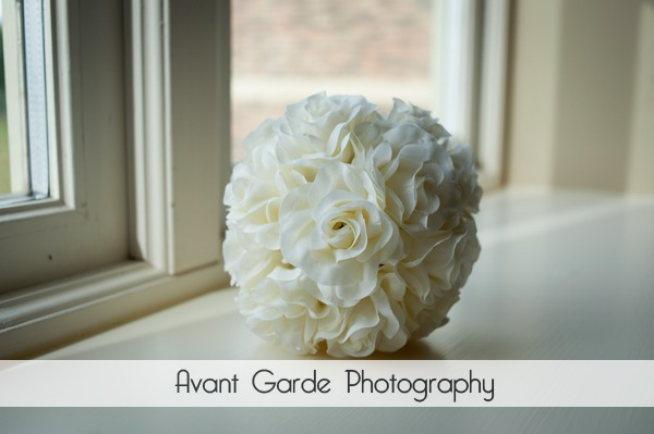 Flower girls bouquet on windowsill