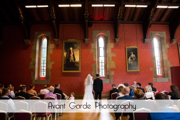 bride and groom during Alnwick Castle wedding ceremony