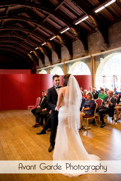 bride and groom during wedding ceremony at Alnwick Castle