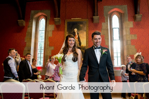 walking down the aisle at alnwick castle wedding