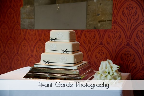 wedding cake and bouquet at alnwick castle wedding