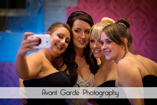 bride and bridesmaids selfie